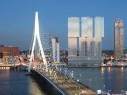 Erasmus bridge and nhow Hotel next to it