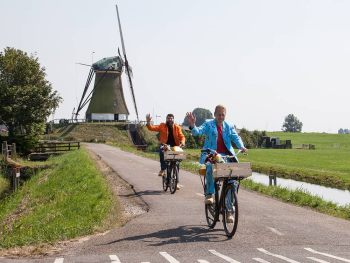 Jan and Patrick doing the Dutch Windmill Bike Tour at the Veendermolen in Kaag en Braassem