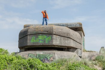 Jan on a bunker at IJmuiden beach