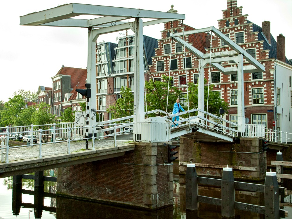 Typical Dutch: Drawbridge and gabled houses in Haarlem