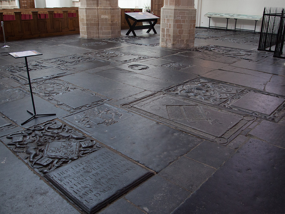 The many gravestones of the Old Church in Delft