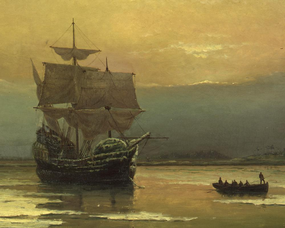 Painting: Mayflower in Plymouth Harbor by William Halsall (1882)