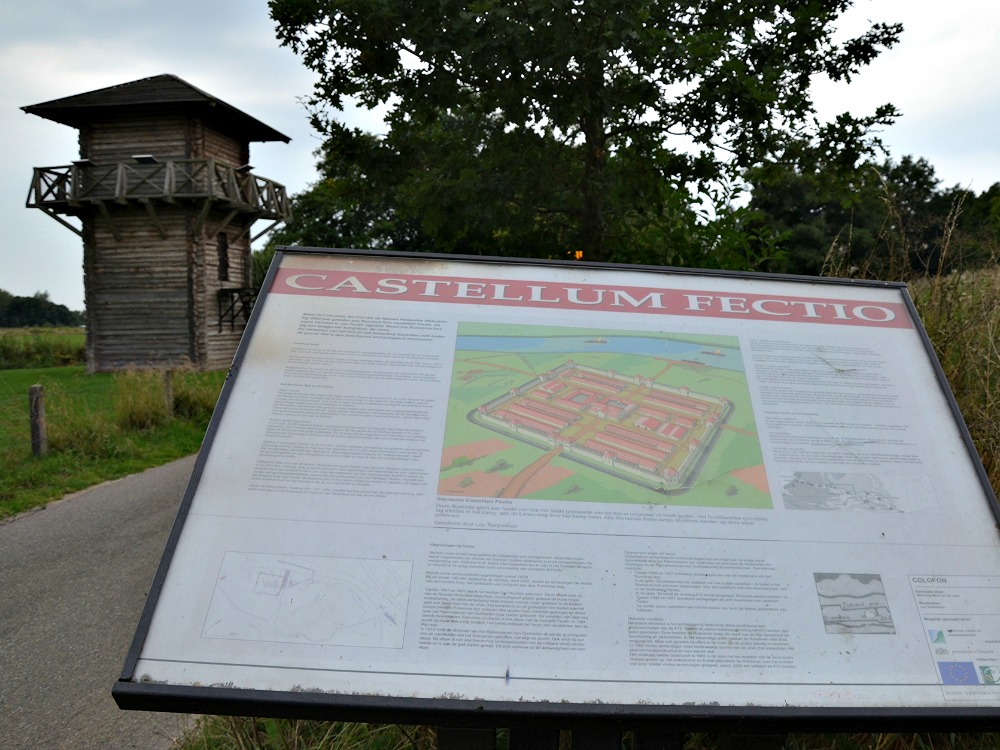 Plaque and reconstructed watchtower of the Roman Castellum Fectio