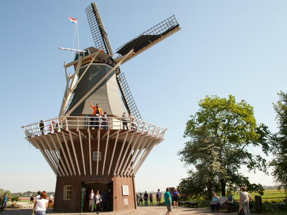 Jan waving from the windmill in Keukenhof