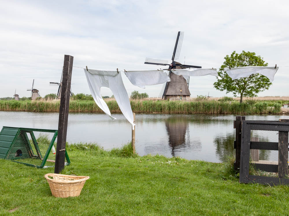 Laundry at the windmills of Kinderdijk in Holland