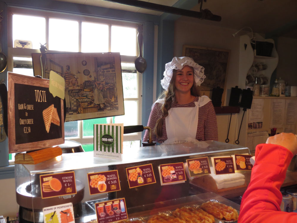 young girl at Dutch bakery