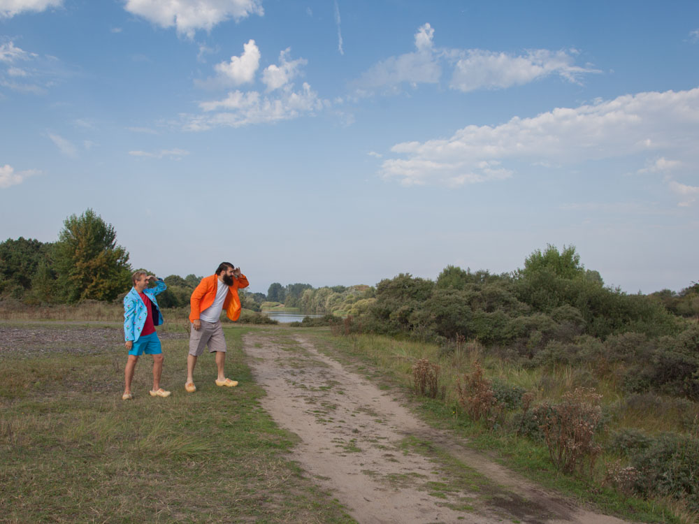 Jan and Patrick spotting animals at the Amsterdamse Waterleidingduinen