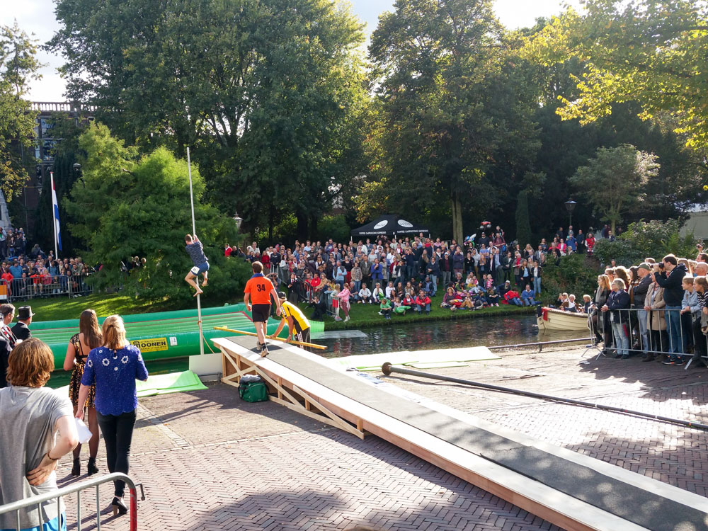 Far leaping or Fierljeppen at the 3 October festival