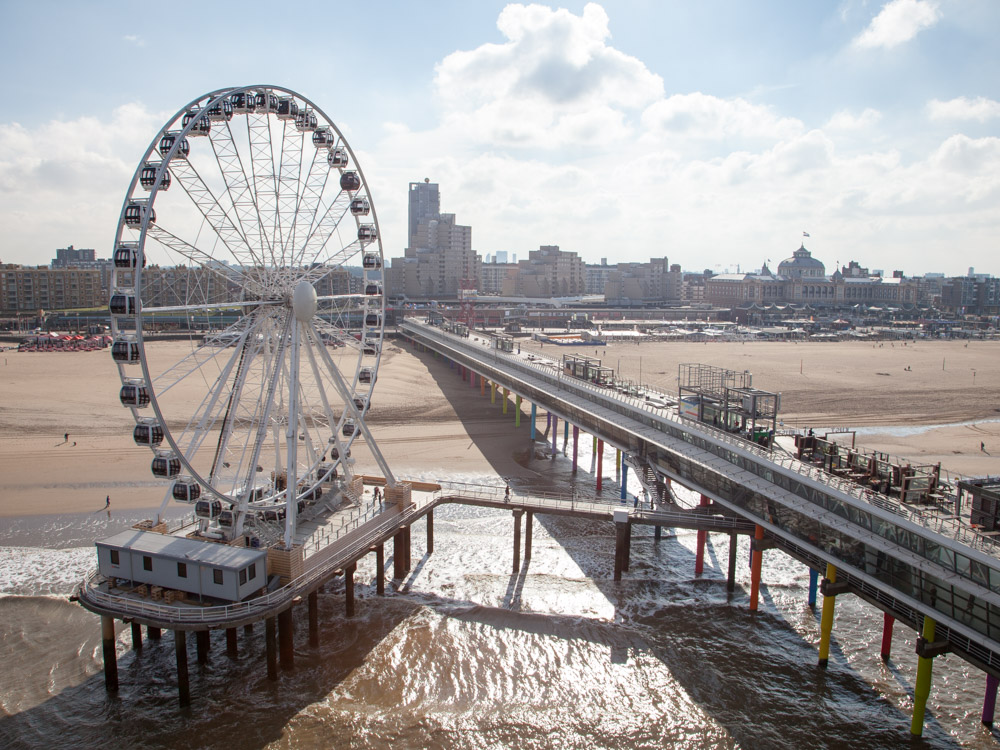 The Pier with Ferris wheel and view over scheveningen and the Hague