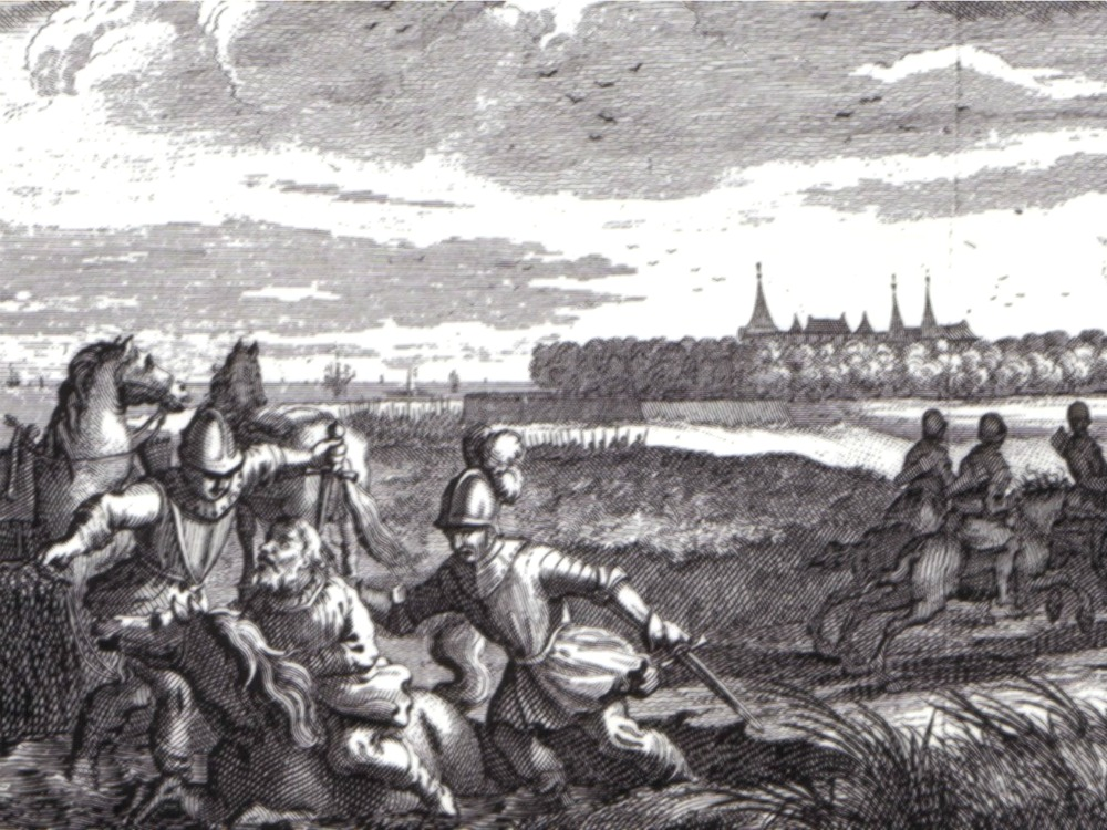 Floris V is killed. In the background is Muiderslot castle