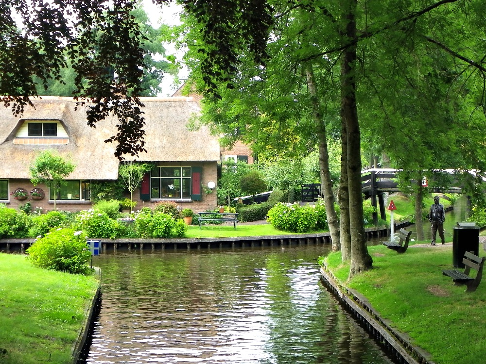 Typical street in Giethoorn Netherlands