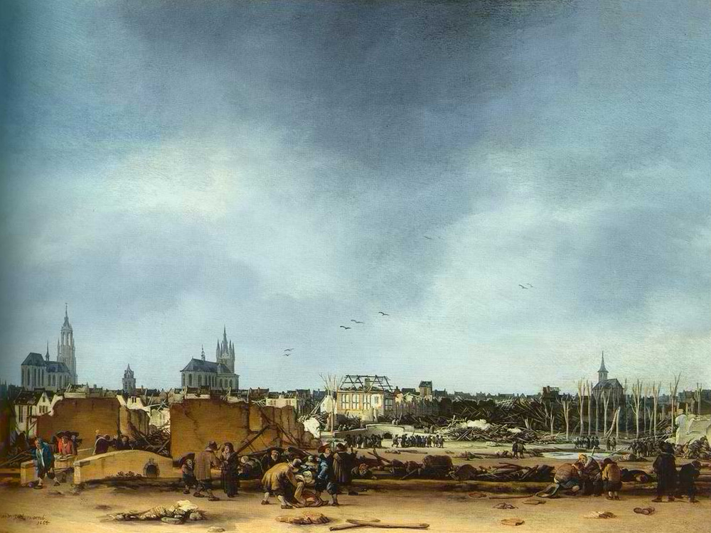View of Delft after the Delft explosion of 1664. by Egbert Lievensz. van der Poel (1654)