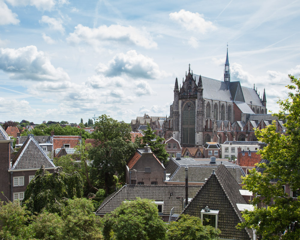 Sightseeing from the fortress 'De Burcht' in the city center of Leiden, The Netherlands