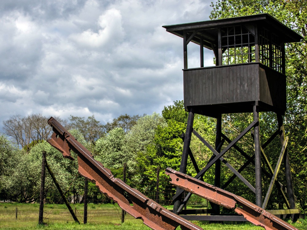 Watchtower at camp Westerbork, from which Anne Frank and many other Jews were transported to Germany