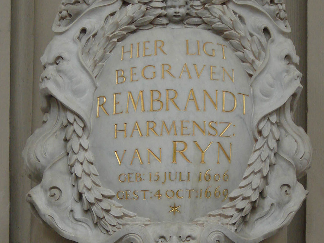 A memorial stone at the Westerkerk in Amsterdam. The place where Rembrandt was buried.