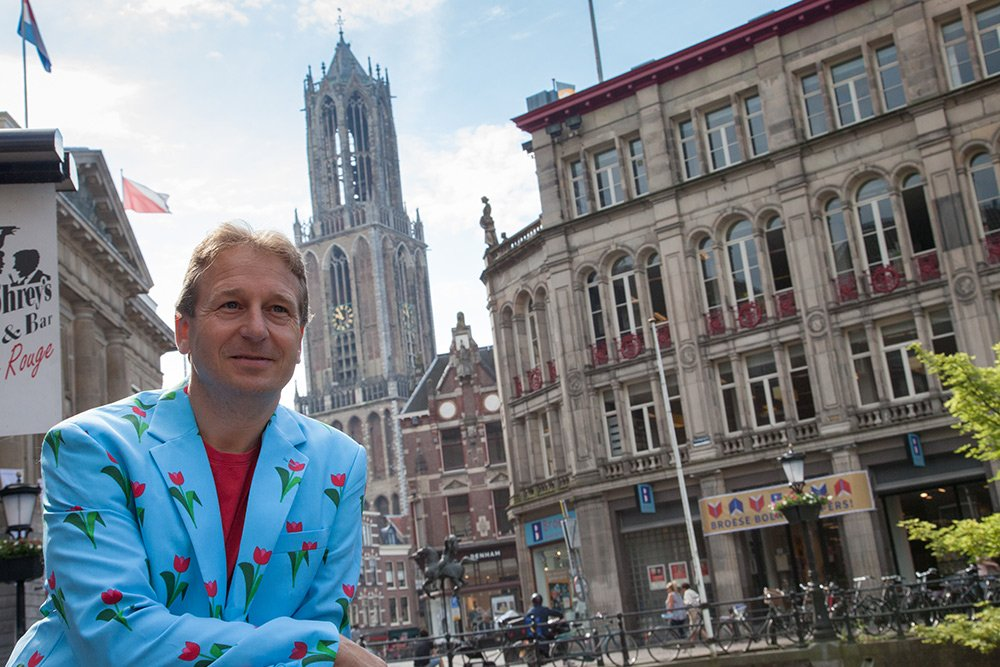 Patrick at the canals and the Dom Tower of Utrecht