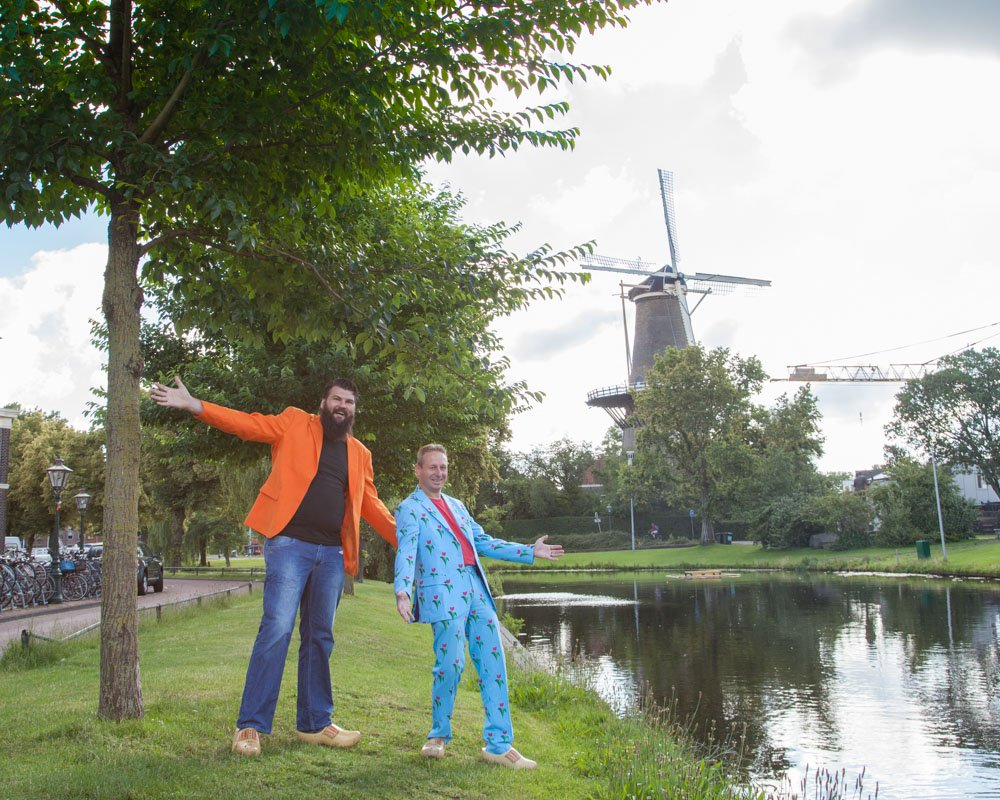 Leiden the Netherlands with the Windmill 'De Valk' in the background