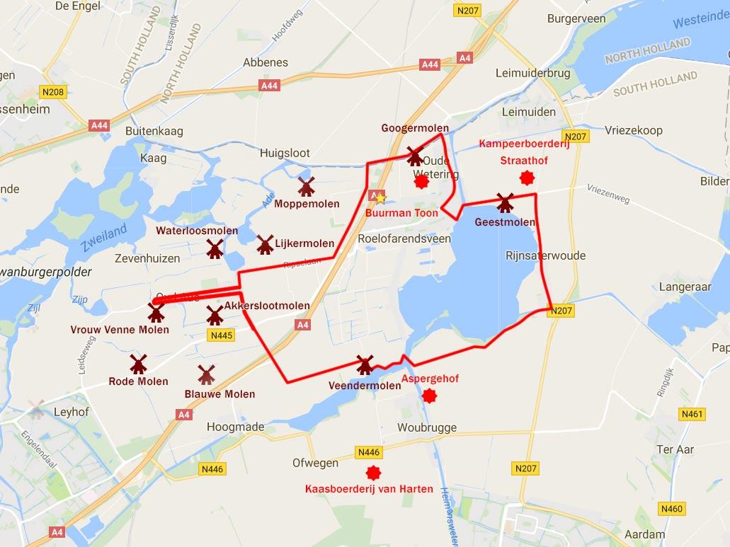 Dutch Windmill Bike Tour map Kaag en Braassem